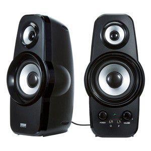 【ツィーター搭載2chスピーカー】透明感のある高音再現が可能なツィーターを搭載し、低音・高音の調整を可能にした2chマルチメディアスピーカー。ブラック。|myoffice