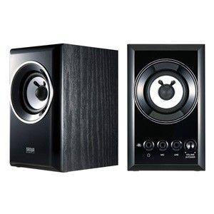 木製2chマルチメディアスピーカー(ブラック)優れた音質・デザイン性・機能性を兼ね揃えた|myoffice