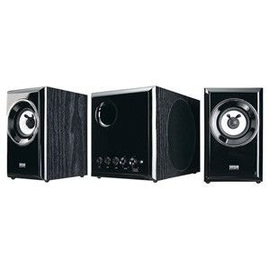 木製2.1chマルチメディアスピーカー(ブラック)豊かな低音を再現し優れた音質・デザイン性・機能性を兼ね揃えた木製2.1chマルチメディアスピーカー。|myoffice