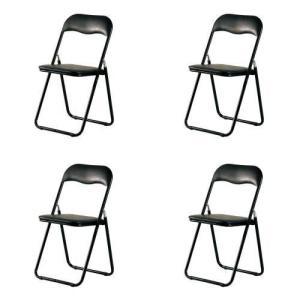 折り畳みイス4脚セット シリンダー式折り畳み機能ブラックパイプ椅子4脚セット|myoffice