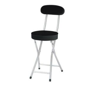 P-folding chair 合皮レザー折り畳み背付きチェア座高さ500mm(ブラック)|myoffice