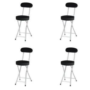 P-folding chair4脚セット 合皮レザー折り畳み背付きチェア座高さ500mm(ブラック)4脚セット|myoffice