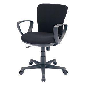 オフィスチェア(ブラック) 背もたれと座面にモールドウレタンフォーム(3次元立体フォルム)を使用した、包まれるようなフィット感。肘あて付き。 myoffice