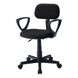 OAチェア(ブラック) スタンダードでリーズナブルな、肘あて付きオフィスチェア。ブラック。|myoffice