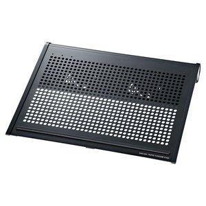 ノート用クーラーパッド ノートパソコンに合わせてファンを前後に移動できるクーラーパッド。16型ワイドまで対応。ブラック。 myoffice