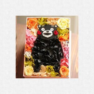 クリスマス 結婚記念日 お祝い 誕生祝い 新築祝い 開店祝い 誕生日祝い 母の日 面白い 花 熊本  プリザーブドフラワーBOX くまモン 角型|myperidot
