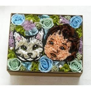 犬 猫 プリザーブドフラワー 似顔絵 誕生日 プレゼント 女性 新築祝い 父の日 母の日 ギフト お祝い マイペットフラワー(動物1匹+人物1名)|myperidot