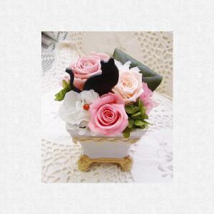 プリザーブドフラワー 花 猫の城 クリスマス ギフト バラ 薔薇 ねこ好き 記念日 猫好きさん 誕生日 プレゼント 母の日 ねこ ネコ ギフト 猫の城|myperidot