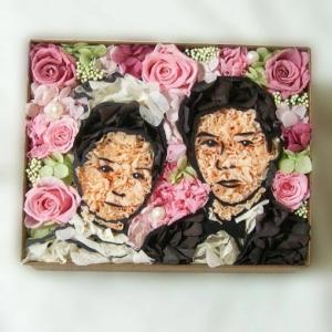 似顔絵 プレゼント お祝い 結婚式 花束贈呈 結婚祝い 結婚記念日 プリザーブドフラワー 似顔絵フラワーカップル(名前なし)|myperidot