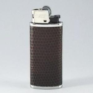【BIC J25ミニライターを入れ替え交換可能 】アニマル柄 ダークブラウン ライターケース ライター1個付|mysen