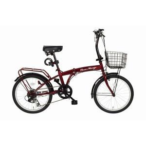 折りたたみ自転車 〔シマノ製6段ギア 20インチ〕 クラシックレッド ワイヤーロック LEDライト カゴ付き 『Classic Mimugo』〔代引不可〕 myshop