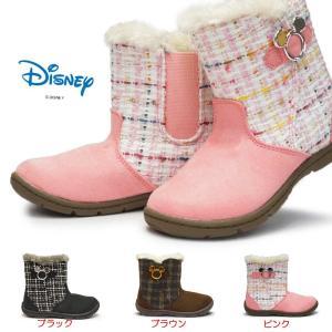 ディズニー ブーツ キッズ ミッキー C1222 子供ブーツ サイドゴア ボア付き ベルト飾り 抗菌 防臭 ムーンスター|myskip-sp
