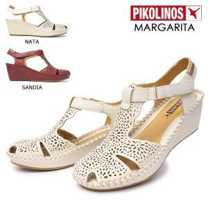 ピコリノス 靴 レディース サンダル PK739 943-0985 ストラップ レザー 白 赤|myskip-sp