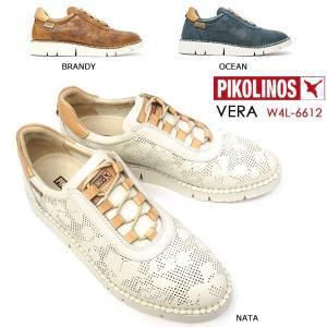 ピコリノス 靴 レディース スニーカー PK758 W4L-6612 レザー ホワイト ブラウン ブルー|myskip-sp