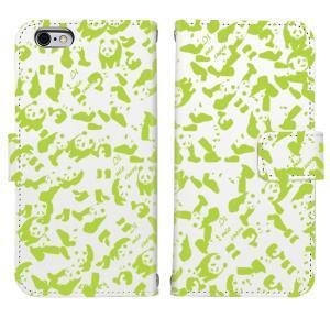iPhone8 iPhone7 iPhone6/6s iPhone 5/5s/SE アイフォン ケース  手帳 型 大 人気 パンダ panda 迷彩 ライト グリーン|mysma