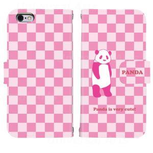 iPhone8 iPhone7 iPhone6/6s iPhone 5/5s/SE アイフォン ケース  手帳 型 パンダ チェック 柄|mysma