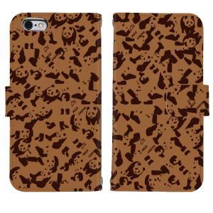 iPhone6 iPhone6S アイフォン ケース  スタンド 手帳 型 Booklet ダイアリー パンダ panda 迷彩 ブラウン|mysma