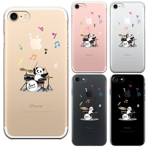 iPhone8 8Plus iPhone7 7Plus iPhone6/6s iPhone 5/5s/SE アイフォン スマホ クリアケース 保護フィルム付 ドラム パンダ 音符|mysma