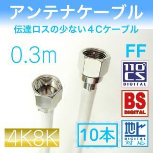 アンテナケーブル 両端F型接栓付  【 0.3m×10本セット】