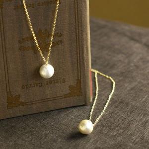 コットンパール ネックレス 12mm  1粒 キスカ ホワイト コットンパール ネックレス