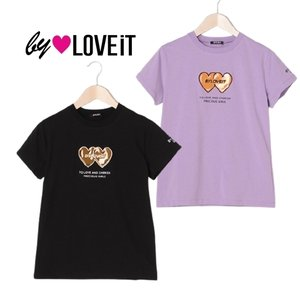 10%OFF by LOVE iT バイラビット  ぷっくりハート×ロゴTシャツ7811249 ラベンダー61   ブラック-80|mystylist