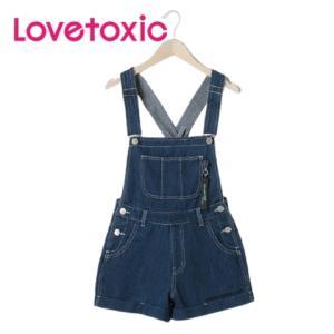 10%OFF Lovetoxic ラブトキシック チャーム付きショートサロペット8311112(ブルー56) mystylist