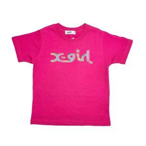 X-girl Stages レインボーラメ入りロゴTシャツ(ディープピンク18)9202227 mystylist