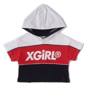 X-girl Stages  切り替えロゴパーカー(ネイビー) mystylist