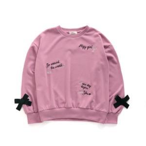 [Sale]ALGY  とび刺繍りぼん付きトレーナー(ピンク)G511910|mystylist