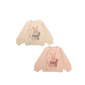 [sale]裏起毛ウサギ刺繍トレーナー(ベージュ)(ピンク)LP20WI006|mystylist