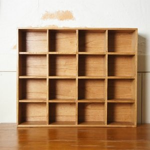 ミンディ 木製小物入れ トレイ 升箱 木箱 飾り棚 16マス ナチュラルの写真