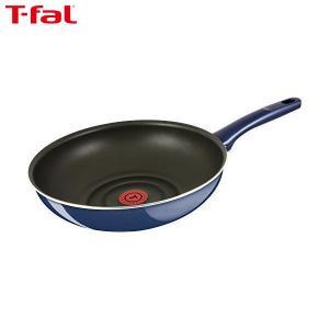 T-fal(ティファール) 炒め鍋 28cm 深型 フライパン ガス火専用 グランブルー ウォックパン チタン プレミア 5層コーティング 取っ手つき IH非対応 D55119|n-kitchen