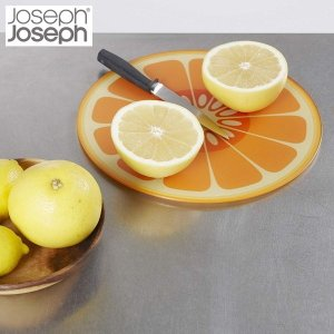 ジョセフジョセフ マルチガラスボード ラウンド オレンジ JosephJoseph n-kitchen