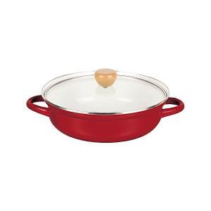 ホーロー 卓上 両手鍋 24cm ガラス鍋蓋付 レッド IH対応 プレデンシア HB-933 パール金属 n-kitchen