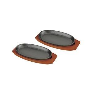ステーキ皿 鉄板 24cm 小判型 2枚組 ハンドル付 木製 プレート2枚組 HB-3026 パール金属 n-kitchen