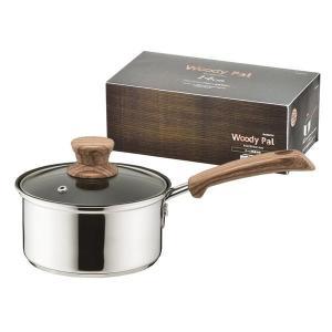 ウッディパル 片手鍋 IH対応 3層鋼 ガラス蓋付き 14cm HB-3174 パール金属|n-kitchen