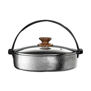 すき焼き鍋 26cm ガラス蓋付 IH対応 アルミ IH・ガス火 兼用 打ち出し 槌目 お手入れ簡単 谷口金属 n-kitchen