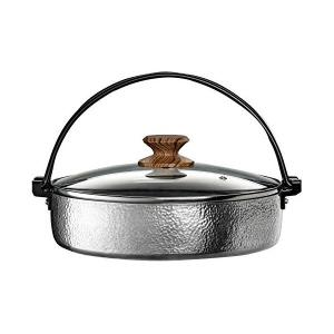 すき焼き鍋 30cm ガラス蓋付 IH対応 アルミ IH・ガス火 兼用 打ち出し 槌目 お手入れ簡単 谷口金属 n-kitchen