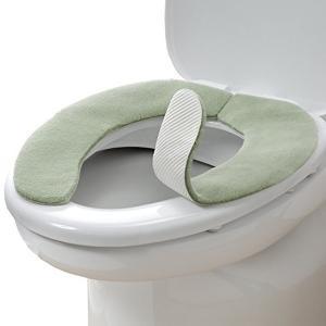 ズレない トイレ 便座 カバー グリーン 無地 おくだけ吸着 消臭ふんわり KC-69 サンコー|n-kitchen