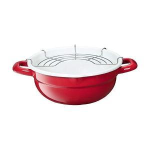 天ぷら鍋 フォンデュ鍋 20cm レッド ホーロー IH対応 TP-20R-RW 高木金属 n-kitchen