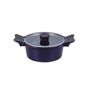 ジェンティール マーブル加工 両手鍋 20cm ロイヤルブルー ガス火専用 ND-4743 n-kitchen
