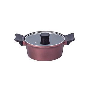 ジェンティール マーブル加工 両手鍋 20cm ローズレッド ガス火専用 ND-4763 n-kitchen