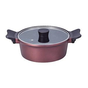 ジェンティール マーブル加工 両手鍋 22cm ローズレッド ND-4764 ベストコ n-kitchen