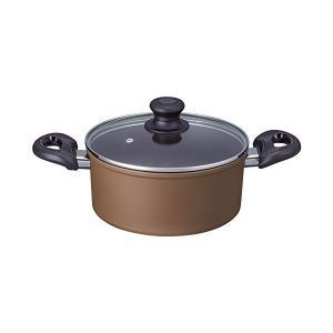 ダイヤモンドコート IH両手鍋 20cm アリエッタ ブラウン ND-5492 n-kitchen