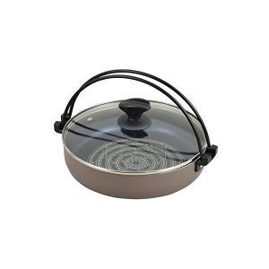 IH対応 ガラス蓋付すきやき鍋 26cm ブルーダイヤモンドコート NEWビストロ庵 ND-8542 n-kitchen
