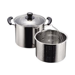 パスタ鍋 22cm ガラス鍋蓋付 IH対応 ステンレス NEWだんらん H-5876 パール金属 n-kitchen