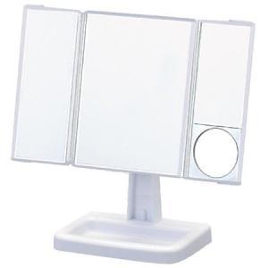 回転三面スタンドミラー アイメイクミラー Y−2000 ホワイト|n-kitchen