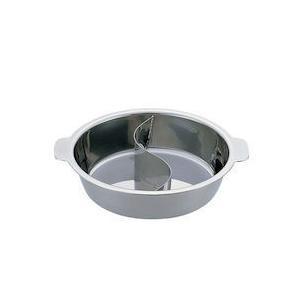 UKチリ鍋 2仕切・蓋なし 33cm 18-0・電磁対応 QTL6103|n-kitchen