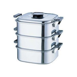 桃印18-0角型蒸器 22CM3段 AMS69223|n-kitchen