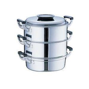 桃印18-0丸型蒸器 27CM3段 AMS72273|n-kitchen